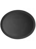 Kitchen Hire / Non Slip Black Oval Serving Tray
