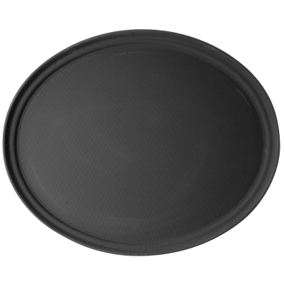 Glassware / Non Slip Black Oval Serving Tray